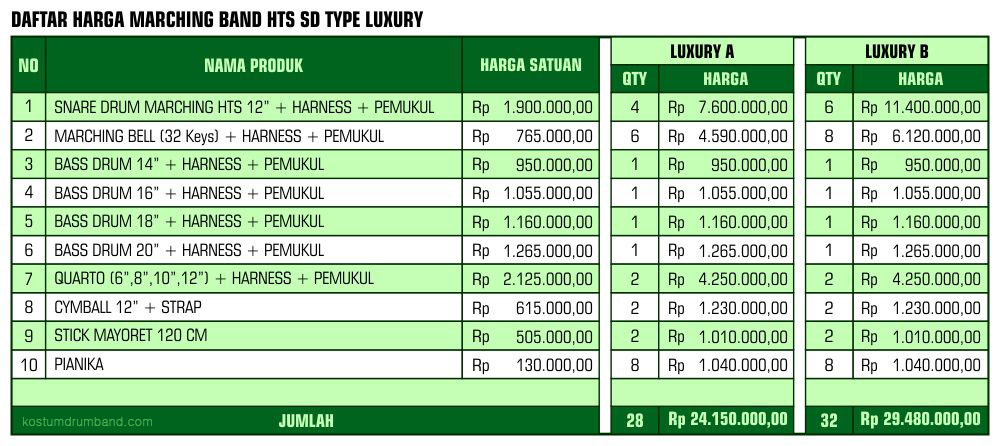 Harga Marching Band HTS SD Luxury