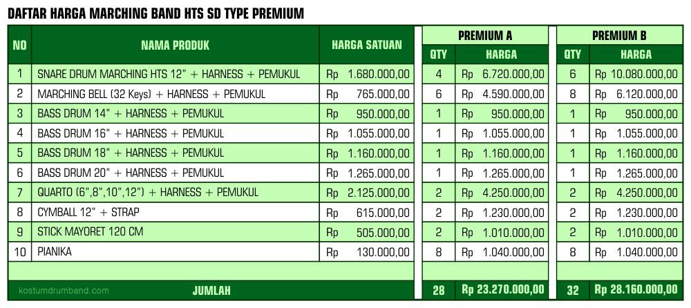 Harga Marching Band HTS SD Premium
