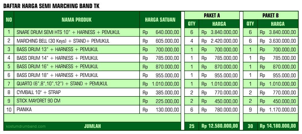 Harga Semi Marching Band TK